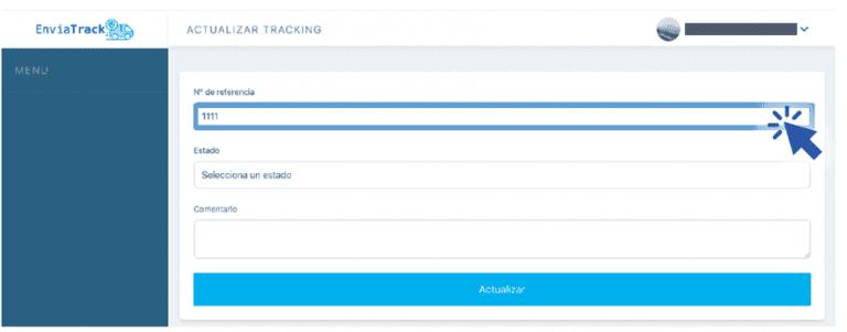Paso 2: Ingresa a Enviatrack: https://london-246514.appspot.com/ con tu usuario y clave. Escribe el número de referencia interno de un pedido.