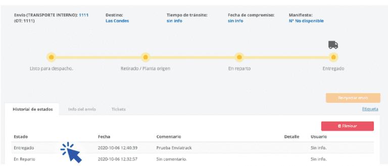 De esta forma podrás ver reflejado en la plataforma de Envíame todos los estados del envío según lo que selecciones en el usuario de Enviatrack.